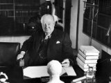 Sir Winston Churchill  Sitting Behind Desk at Chartwell