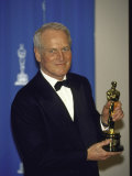 Actor Paul Newman Holding His Oscar in Press Room at the Academy Awards