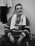Canadian Goalie  Jacques Plante in Locker Room During Game