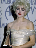 Singer Madonna Holding Her Award in Press Room at American Music Awards