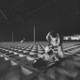 Workmen Standing on Honeycomb Floor in New Convair Factory