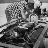Man Repairing the Interior of the Hot Rod
