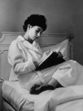 Actress Millie Perkins Alone Writing in Her Hotel Suite