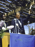 Evangelist Billy Graham Preaching to Crowd During His African Crusade