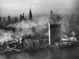 Aerialof the Un Headquaters Buried Beneath the Misty Sky
