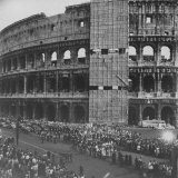 Pope Pius Xii&#39;s Funeral Cortege Passing Coliseum in Rome  on Way to Vatican