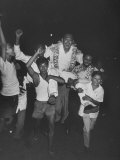 Crowd Carrying Lee Kuan Yew after Winning the Election