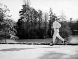 French Journalist and Politician Jean-Jacques Servan Schreiber Jogging Near Home