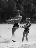 Apollo 8 Astronaut William Anders Water Skiing with His Son