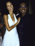 "Comedian Actor Eddie Murphy and Wife Nicole Mitchell at Film Premiere of His ""Bowfinger"""