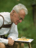Ethologist Karl Von Frisch Testing the Ability of Bees to Perceive Color in His Home Garden