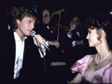 Performer Andy Gibb Singing to Girlfriend  Actress Victoria Principal