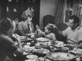 Actress Gina Lollobrigida and Her Family Eating Dinner