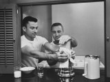 Astronauts Virgil I Grissom and John W Young Preparing Breakfast in Blender