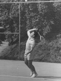 Singer Ricky Nelson Rehearsing Tennis Court Scene for TV Show