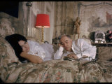 Actress Sophia Loren and Husband  Producer Carlo Ponti  Lying across a Bed Together
