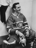 Goalie Jacques Plante in Locker Room  During Game