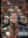 US Gymnast Kathy Rigby Performing on the Balance Beam at the Summer Olympics