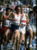 US Track Athlete Steve Prefontaine Running a Race at the Summer Olympics