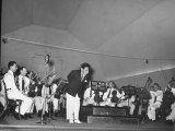 Young Conductor Lorin Maazel Taking a Bow at a Concert by the Robin Hood Dell Orchestra