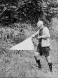 Author Vladimir Nabokov Hunting Down Specimen for His Collection with Butterfly Net in Countryside