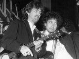 Musicians George Harrison and Bob Dylan at Rock and Roll Hall of Fame