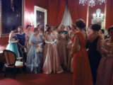 Mrs Earl Warren Listening to 1st Lady Mamie Eisenhower Entertaining Guests at a State Dinner