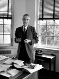Atomic Scientist J Robert Oppenheimer Standing in His Office after the Gray Report Was Published