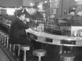 Hockey Great Jean Beliveau at a Diner in Montreal