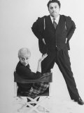 Italian Dir Federico Fellini and Actress Wife Giulietta Masina Posing in Studio