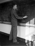 American Physicist J Robert Oppenheimer Writing on Blackboard at the Institute for Advanced Study