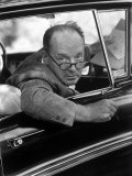 Author Vladimir Nabokov Looking Out Car Window He Likes to Work in the Car  Writing on Index Cards