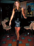 Actress Model Cindy Crawford Wearing Black Vest and Leather Skirt at Party