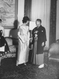 Mrs John F Kennedy with Japan's Prime Minister Hayato Ikeda