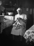 American Indian  Dr L R Minoka Hill  Sewing in Kitchen Window Light