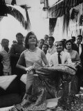 Mrs John F Kennedy During Her Tour of India at Textile Showroom