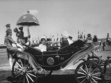 Mrs John F Kennedy and Pres of Pakistan Mohamed Ayub Khan in a Carriage