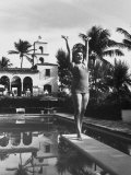 Opera Singer Birgit Nilsson on Diving Board in Private Pool Vacationing