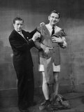 TV Comic Actors Ray Goulding and Bob Elliott  During a Scene from their TV Show Bob and Ray