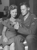 Actress Shirley Temple  and Sgt John Agar  Looking at the Ring on Her Finger
