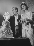 Jason Robards Jr and Lauren Bacall Cutting the Cake at their Wedding