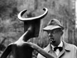 French Actor Jacques Tati Looking at a Sculpture