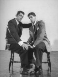Comedian Jerry Lewis and Dean Martin Sitting on Stools