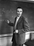 J Robert Oppenheimer Working Out Physics Equations on the Blackboard in His Office