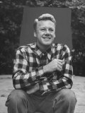Actor Van Johnson at Home Outdoors