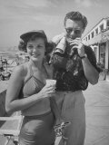 Married Actors Marjorie Lord and John Archer at Beach During Summer Stock Stint