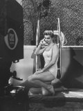 "Actress  Swimmer Esther Williams Talking on Phone During Rehearsal for Cbs TV Show ""The Big Party"""