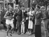 Emil Zatopek Leading in Marathon at 1952 Olympics