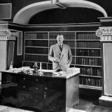 Author Evelyn Waugh Standing in His Study