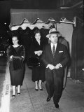 Gangster Mickey Cohen Walking with His Girlfriends Barbara Darnell and Liz Renay